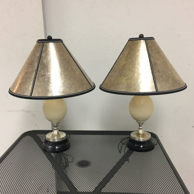 Ostrich Egg Table Lamps With Custom Vellum Shades