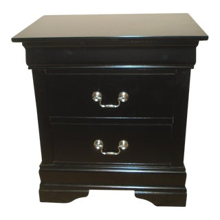 Traditional Ebonized Wood 2 Drawer Nightstand