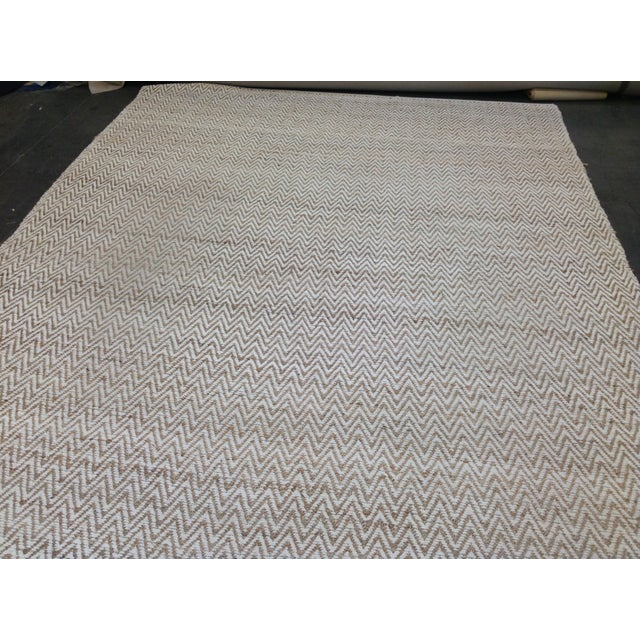 Chevron Rug in Beige and White - 9′ × 12′ - Image 8 of 9