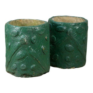 Pair of French Green Cement Faux Bois Planters, circa 1940