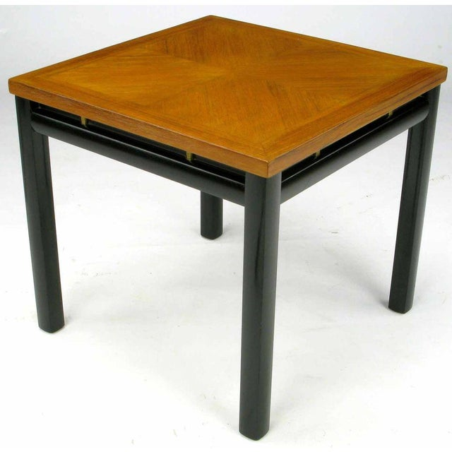 Pair Michael Taylor Bleached Mahogany & Black Lacquer End Tables - Image 3 of 6