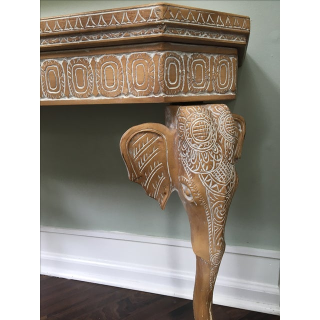 Hand carved elephant console table chairish