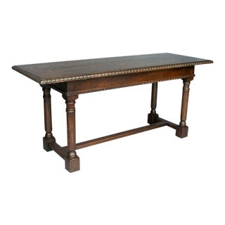 Custom Oak Wood Refectory Table/Console With Carved Edge and Apron