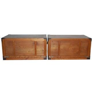 Antique Japanese Wooden Tansu Box - A Pair
