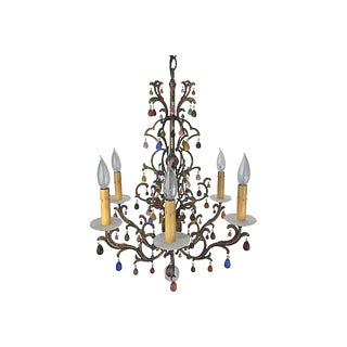 Multicolor & Antiqued Gold Chandelier by Schonbek