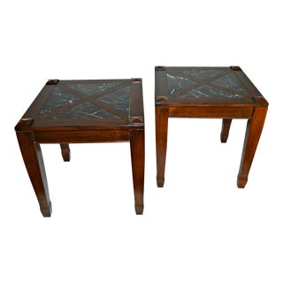 Vintage Solid Wood Side Tables W/ Marble Top - Pair
