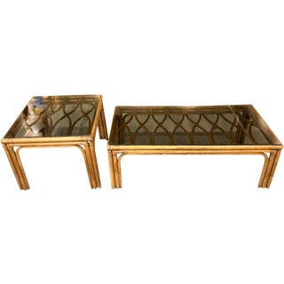 Pair, Mid Century Rattan Scroll Top Tables