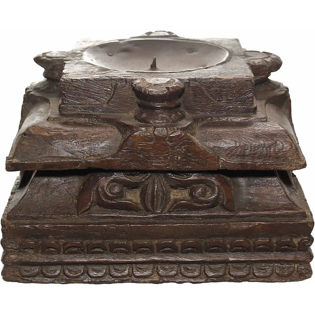 Carved Tiered Pillar Base Candle Holder - Image 1 of 2