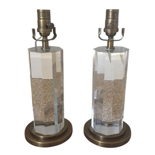 Crystal Column Lamps - A Pair