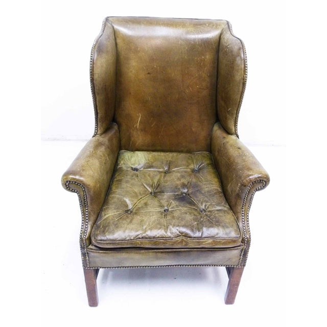 Distressed Leather 19th C. Wingback Chair - Image 3 of 10