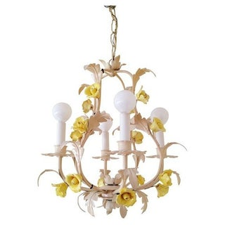 White Italian Tole Yellow Rose Chandelier