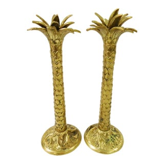 Maitland-Smith Palmtree Candlestick Holders - A Pair