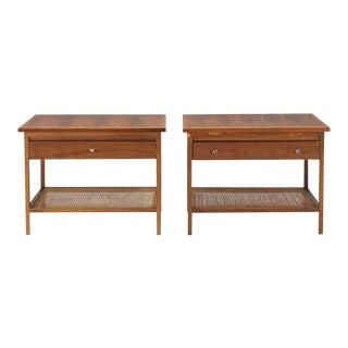 Paul McCobb Walnut & Cane End Tables - A Pair