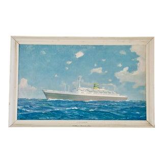 Vintage Framed Holland America Lines Steamship Print
