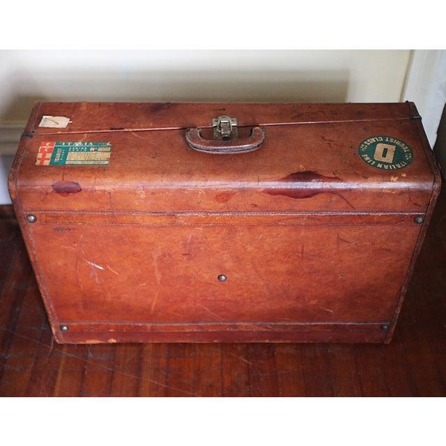 Vintage Worn Leather Suitcase - Image 8 of 8