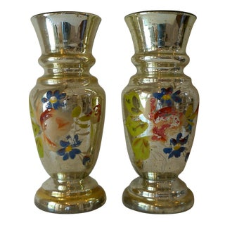 Vintage Handpainted Mercury Glass Vases - Pair