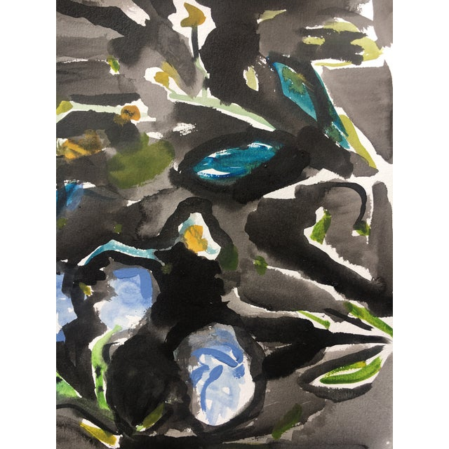 Black Floral Abstract Watercolor Painting - Image 4 of 5