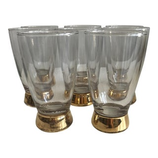 Vintage Gold Bottom Glasses - Set of 8