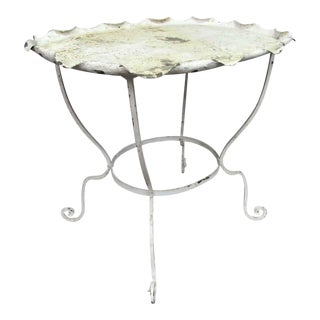 Scalloped Edge Metal Patio Table