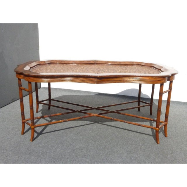 Maitland-Smith Rattan & Leather Coffee Table - Image 3 of 11