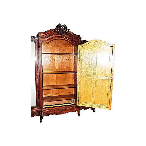 Antique French Rosewood 3-Door Armoire - Image 5 of 7