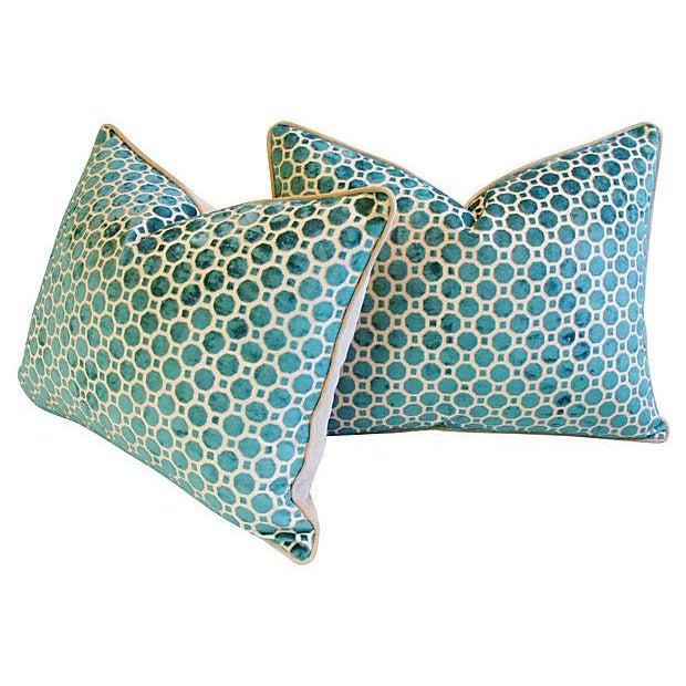 Turquoise Velvet Geometric Pillows- A Pair - Image 7 of 7