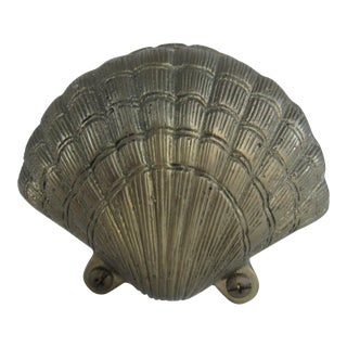 Vintage Brass Scallop Shell Napkin Holder