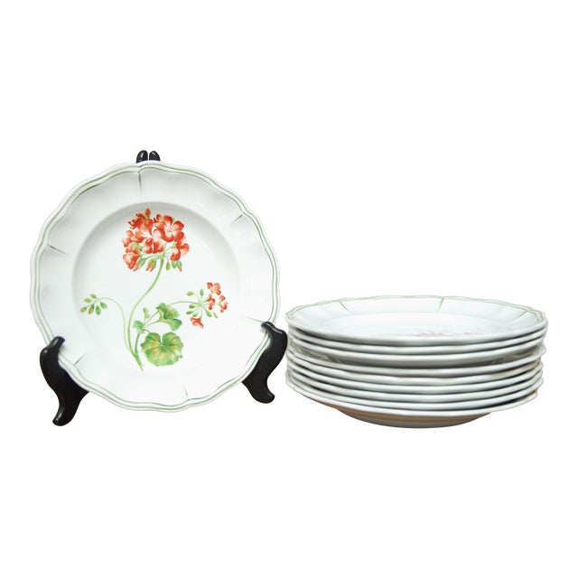 """Set of 66 French Luneville Hand-Painted Floral Dining Plates """"Rovina Epinal"""" - Image 1 of 11"""