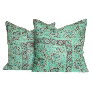 Vintage 1970s Block Print Pillows - A Pair