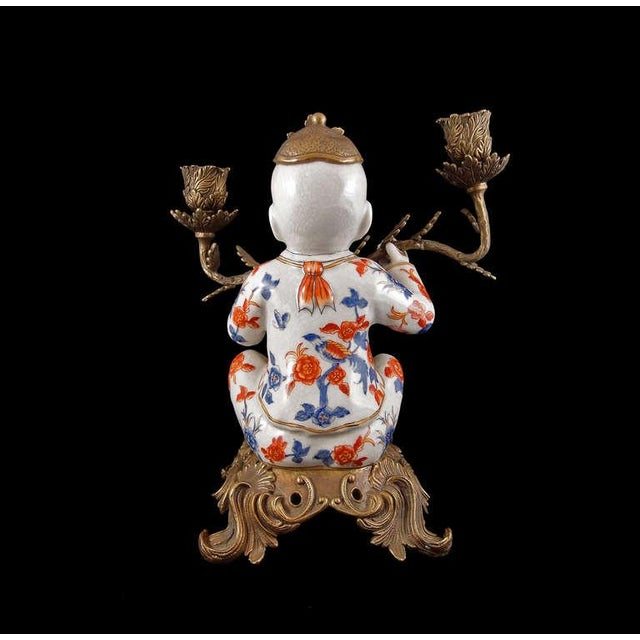 Pair of Chinoiserie Figural Porcelain and Ormolu Two Arm Candelabra - Image 4 of 9