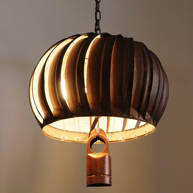 Repurposed Rustic Roof Ventilator Pendant Light - Image 2 of 2