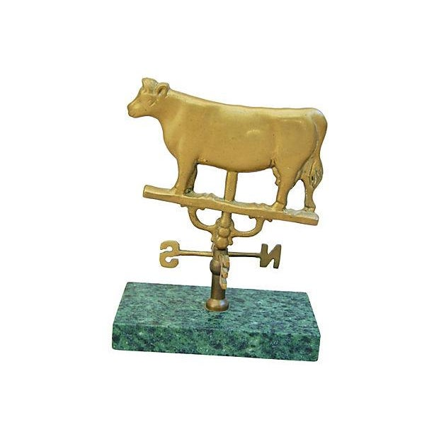 Vintage Brass Cow Table-Top Weathervane - Image 3 of 4