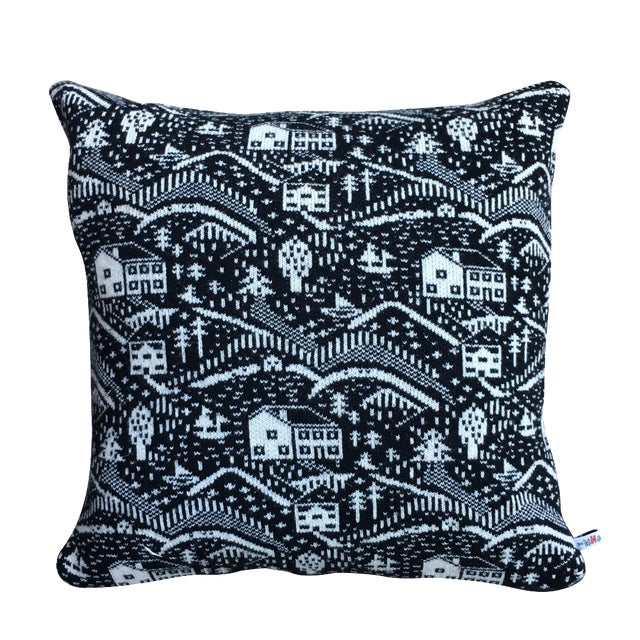 Black & White Cabin Scene Pillow by Donna Wilson - Image 1 of 4