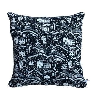 Black & White Cabin Scene Pillow by Donna Wilson