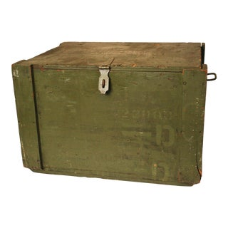 Vintage Industrial Military Green Storage Chest w Hinged Lid