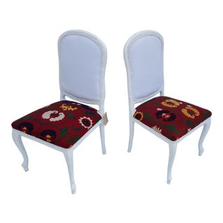 Serge Roche Style Faux Bois Dining Chairs A Pair.