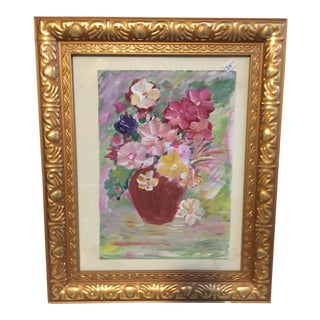 Vintage Original Painting of Flowers in a Pot