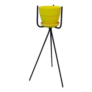 Mid-Century Yellow Ceramic Planter Pot & Iron Tripod Stand