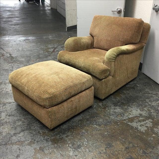J.F. Fitzgerald Tweed Chair & Ottoman - Image 2 of 6