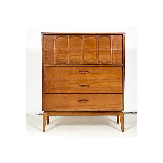 Image of 1960's Tall Walnut Arch-Style Dresser