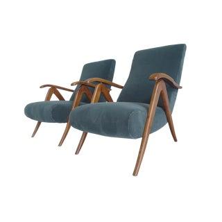 Carlo Mollino Style Italian 1940s Reclining Armchairs - A Pair