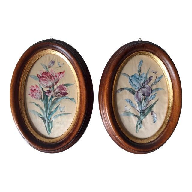 2 Vintage Florentine Framed Silk Botanicals - Image 1 of 7