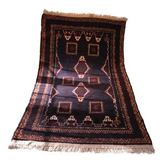 Pakistani Geometric Wool Rug - 3′8″ × 6′2″