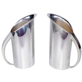 Silver-Plate Streamline Pitchers - A Pair