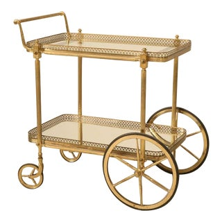 Vintage Solid Brass French Tea Cart, circa 1950s
