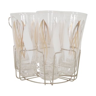 Vintage Highball Glasses With Holder- Set of 7