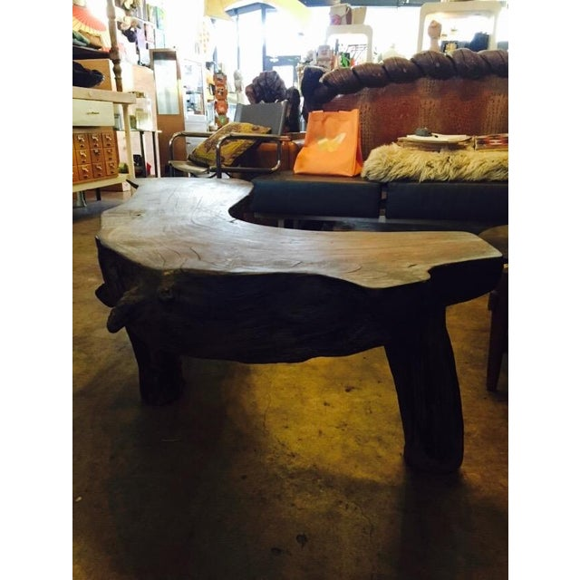 Organic Natural Iron Wood Curved Rustic Bench - Image 4 of 11
