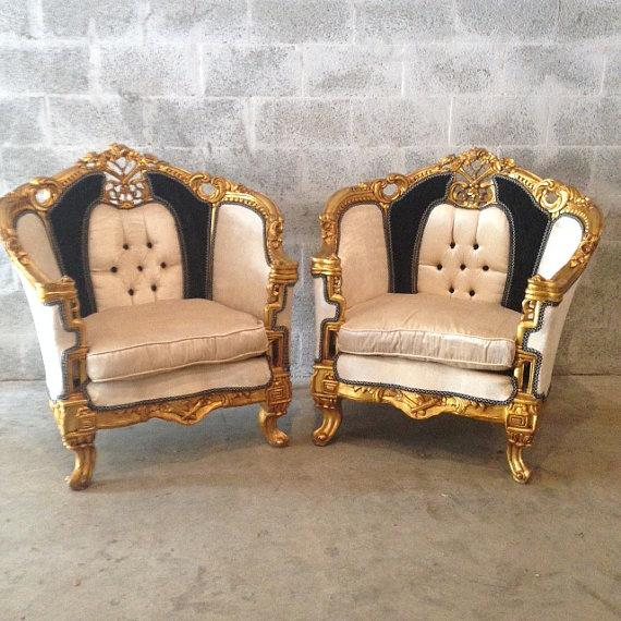 Antique Black & White Louis XVI Chairs - a Pair - Image 2 of 7