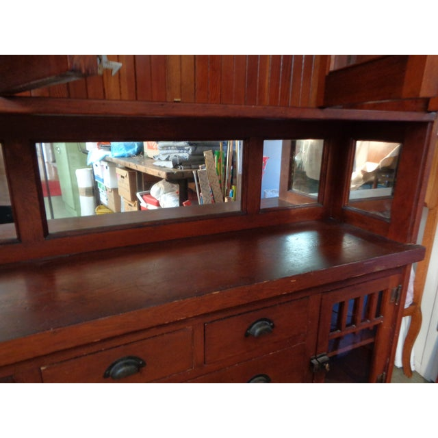 Antique Mission Hutch China Cabinet - Image 5 of 11
