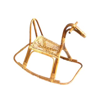 Vintage Swedish Rattan Rocking Horses